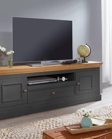 BIANCA TV stolík 189x63 cm, borovica, sivá
