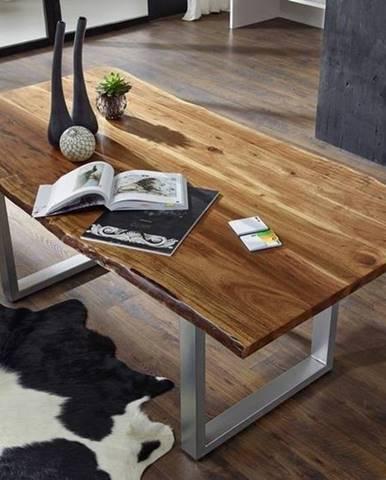 METALL Jedálenský stôl 220x100 cm, akácia