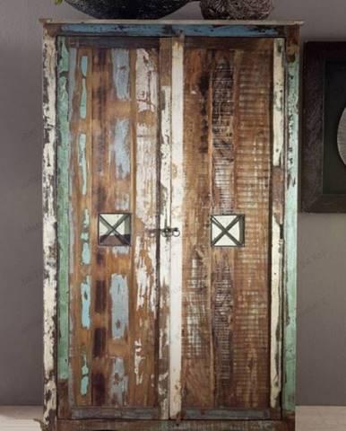 OLDTIME Skriňa na oblečenie 198x118 cm, staré drevo