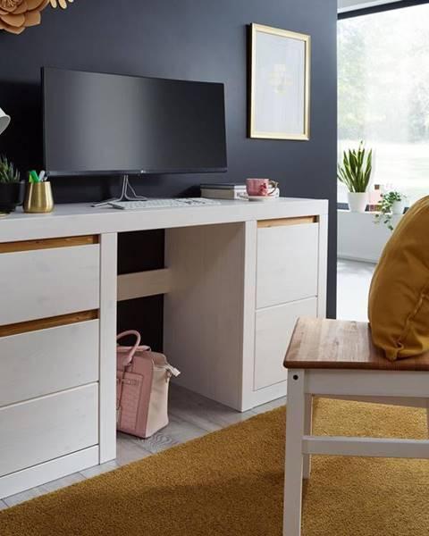 Bighome.sk ALBURY Písací stôl 155x49 cm, borovica, biela