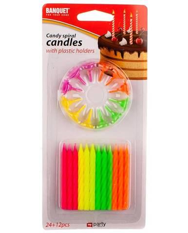 Špirálové sviečky neon 24+12 ks