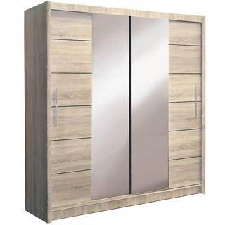 Skriňa Lizbona 2 203 cm dub sonoma s dymovým zrkadlom
