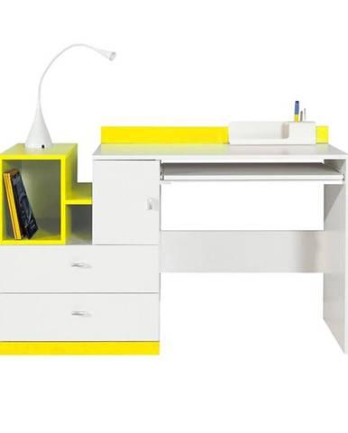 Písací stôl Mobi MO-11 bielo žlta
