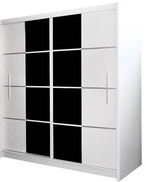 MERKURY MARKET Skriňa Porto 203 cm biela s čiernym sklom