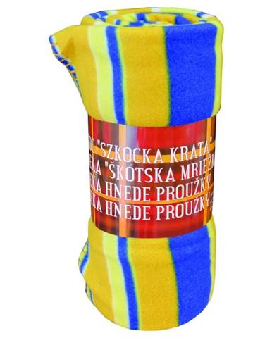 Flísová deka modro-oranžová mriežka 170x220