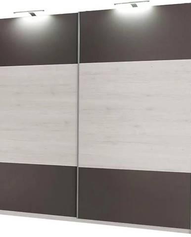 Skriňa Dione 225 cm nórske borovice/šedá
