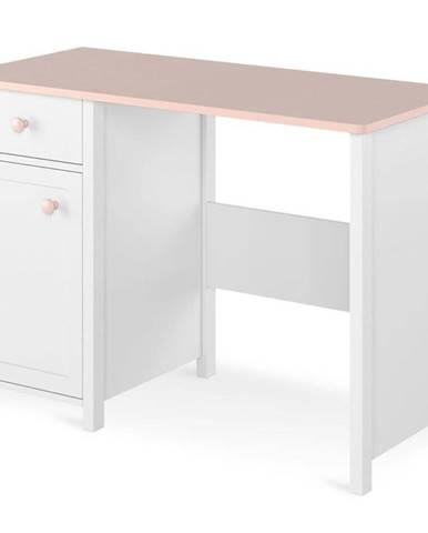 Písací stôl 1D1S Luna LN-03 biely/ružové