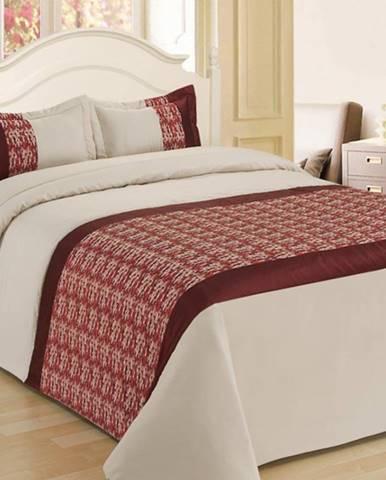 Prikrývka na posteľ  220x250/ 2x60x40 NL-C915 béžová/červená