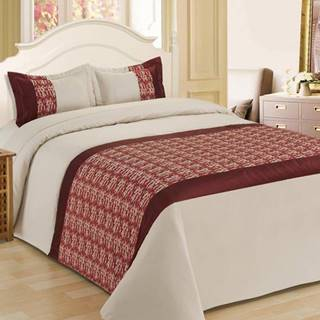 Prikrývka na posteľ  170x220/ 1x60x40 NL-C915 béžová/červená
