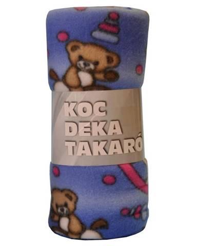 Flísová deka Bear 130x170 modrá