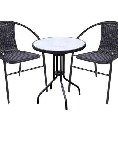 Záhradný technorattan komplet - stôl imitácia betónu a 2 kreslá čierny