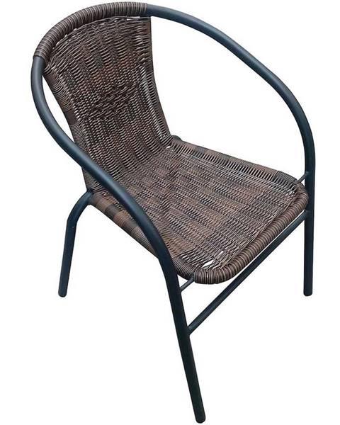 MERKURY MARKET Záhradná ratanová stolička hnedá