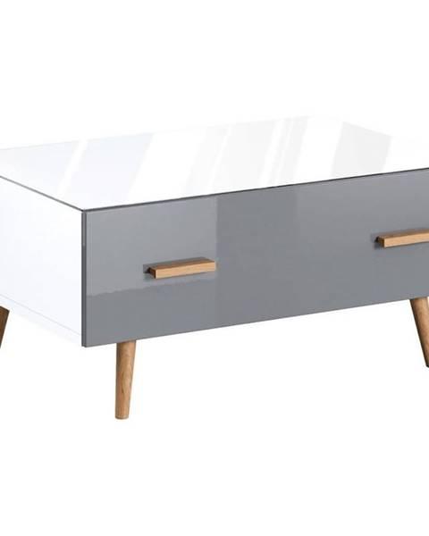 MERKURY MARKET Konferenčný stolík Brillo ST biela/šedá lak