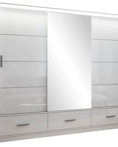 Skriňa Marsylia 250 biela lesk/zrkadlo/biely