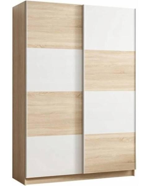 MERKURY MARKET Skriňa Alfa 3 150 cm dub sonoma/biela
