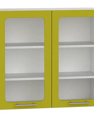 Skrinka do kuchyne Hana zelený lesk/biela WS80 BB