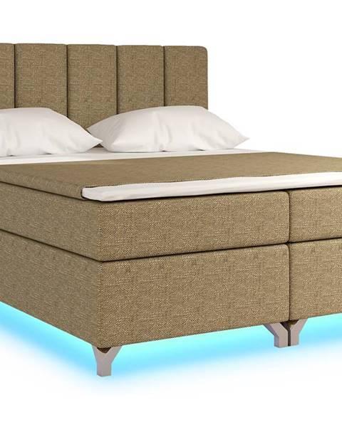 NABBI Barino 140 čalúnená manželská posteľ s úložným priestorom cappuccino