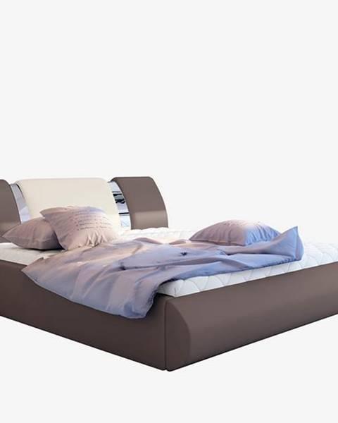 NABBI Folino 140 čalúnená manželská posteľ s roštom hnedá