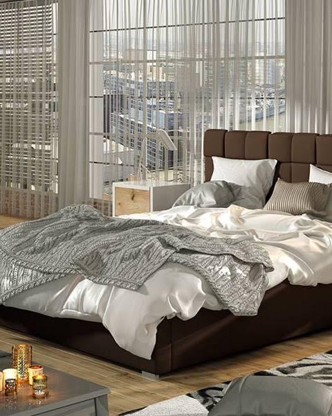 NABBI Galimo UP 180 čalúnená manželská posteľ s roštom tmavohnedá
