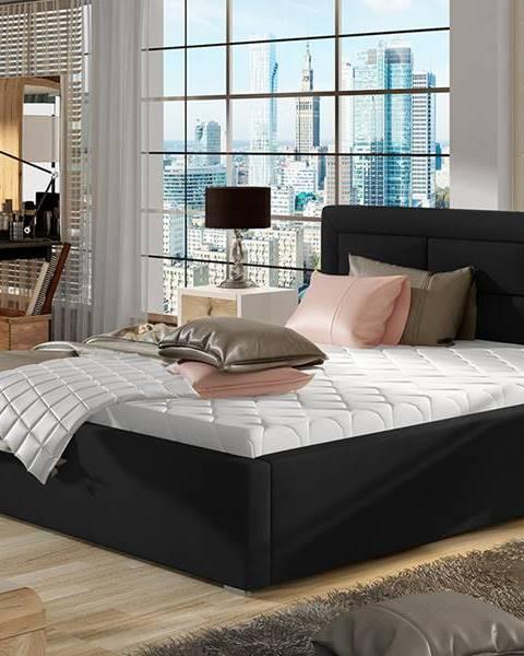 NABBI Rovigo 160 čalúnená manželská posteľ s roštom čierna