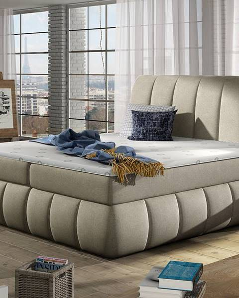 NABBI Vareso 140 čalúnená manželská posteľ s úložným priestorom svetlohnedá (Orinoco 22)