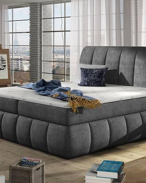 NABBI Vareso 180 čalúnená manželská posteľ s úložným priestorom tmavosivá (Omega 13)