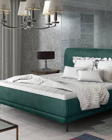 Ancona 140 čalúnená manželská posteľ tmavozelená
