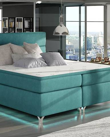 Avellino 140 čalúnená manželská posteľ s úložným priestorom svetlomodrá