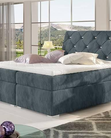 Beneto 160 čalúnená manželská posteľ s úložným priestorom tmavosivá (Paros 06)