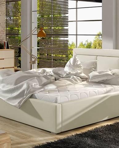 Branco 160 čalúnená manželská posteľ s roštom béžová