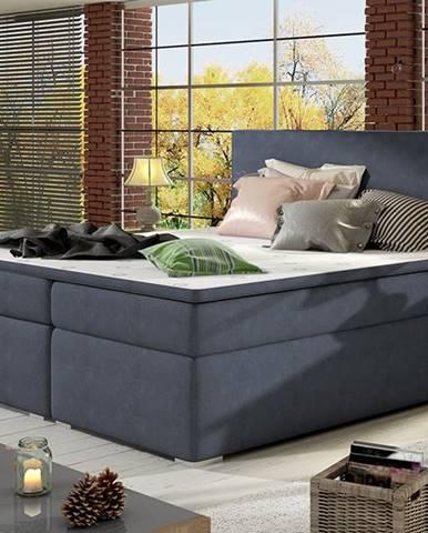 Diana 180 čalúnená manželská posteľ s úložným priestorom modrá