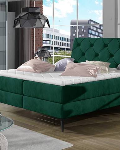 Lazio 160 čalúnená manželská posteľ s úložným priestorom tmavozelená