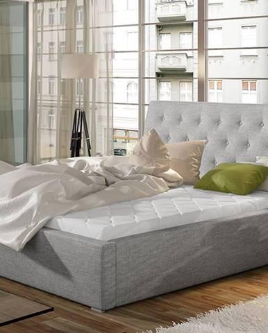 Monzo 200 čalúnená manželská posteľ s roštom svetlosivá (Sawana 21)