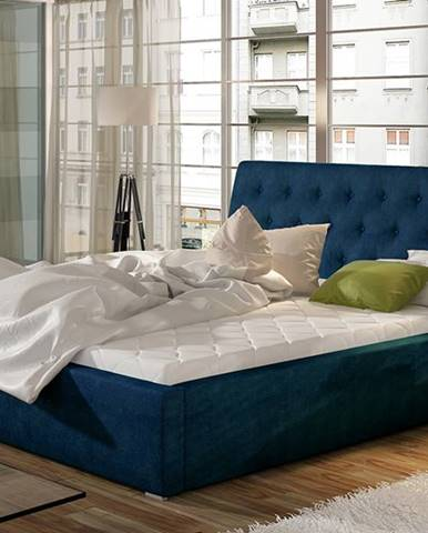 Monzo UP 180 čalúnená manželská posteľ s roštom tmavomodrá