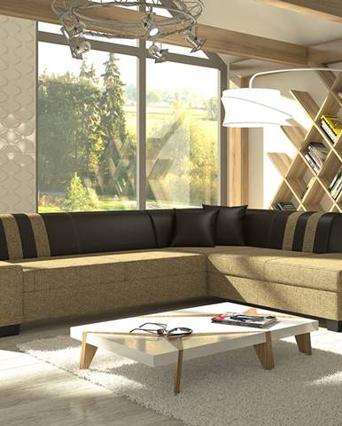 Pinero II P rohová sedačka s rozkladom a úložným priestorom cappuccino