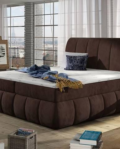 Vareso 140 čalúnená manželská posteľ s úložným priestorom tmavohnedá (Kronos 06)