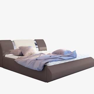 Folino 140 čalúnená manželská posteľ s roštom hnedá