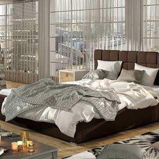 Galimo UP 180 čalúnená manželská posteľ s roštom tmavohnedá