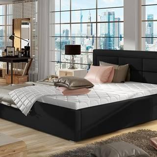 Rovigo 160 čalúnená manželská posteľ s roštom čierna