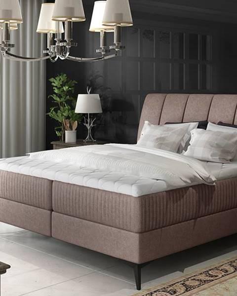 NABBI Altama 160 čalúnená manželská posteľ s úložným priestorom svetlohnedá