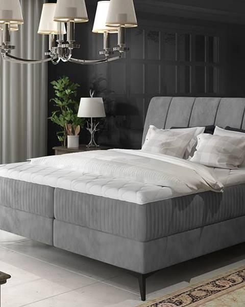 NABBI Altama 180 čalúnená manželská posteľ s úložným priestorom sivá (Jasmine 90)