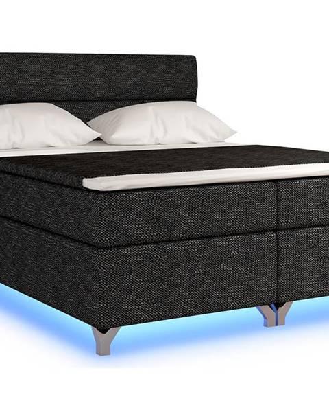 NABBI Avellino 160 čalúnená manželská posteľ s úložným priestorom čierna (Berlin 02)