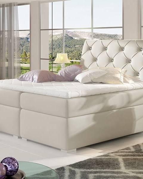 NABBI Beneto 180 čalúnená manželská posteľ s úložným priestorom béžová