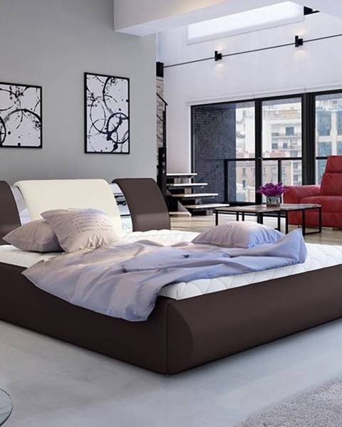 NABBI Folino 180 čalúnená manželská posteľ s roštom tmavohnedá
