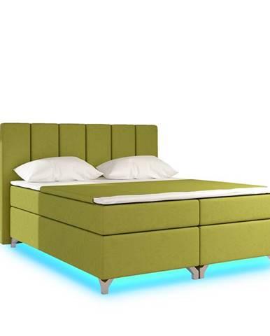 Barino 180 čalúnená manželská posteľ s úložným priestorom zelená