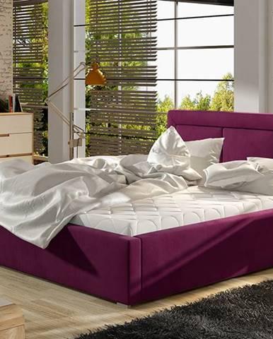 Branco UP 140 čalúnená manželská posteľ s roštom vínová