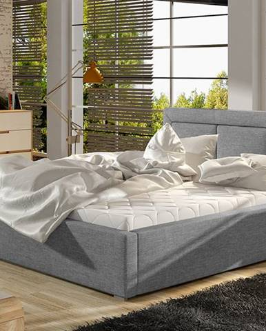 Branco UP 200 čalúnená manželská posteľ s roštom svetlosivá (Sawana 21)