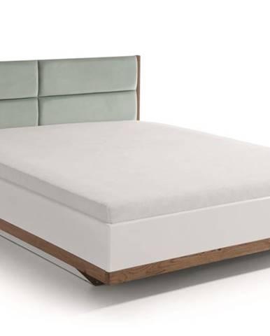 Como CM-4 160 manželská posteľ s osvetlením biely vysoký lesk