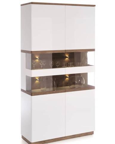 Como CM-W2 vitrína s osvetlením biely vysoký lesk