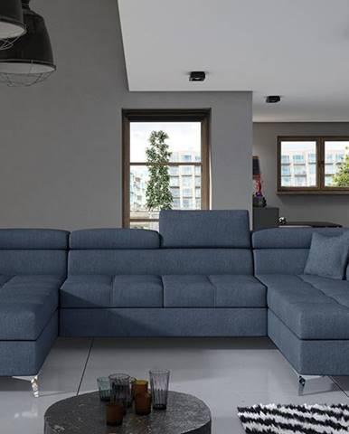 Enrico U P rohová sedačka u s rozkladom a úložným priestorom modrá